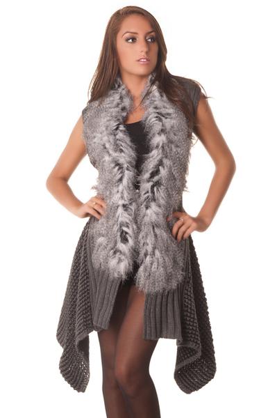 Gilet en laine avec fourrure synthetique boutique - Gilet avec fourrure ...